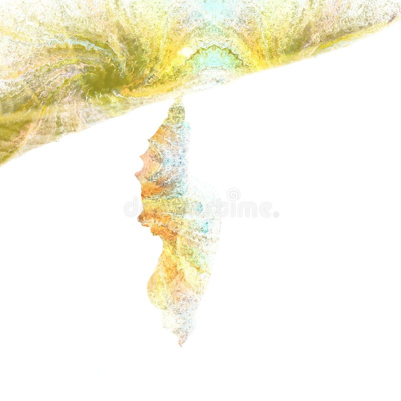 Abstract Chrysalis Tie Dye Butterfly Art. A abstract piece with Tie Dye like swirls of a isolated butterfly Chrysalis attached to a leaf isolated against a white royalty free stock photos