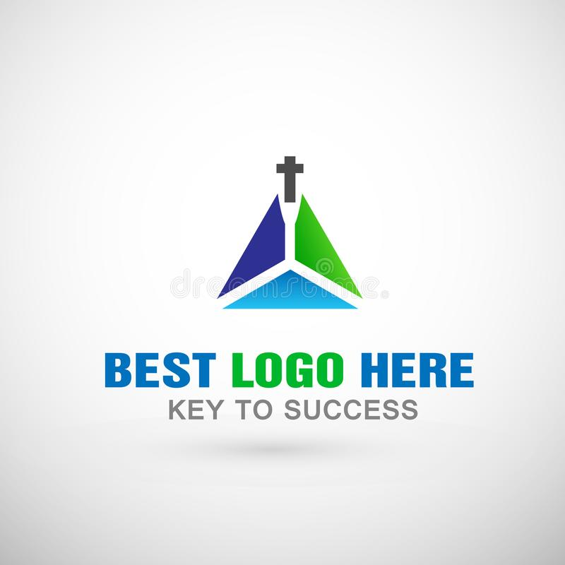 Abstract church logo triangle Logo cross icon design for church company royalty free illustration