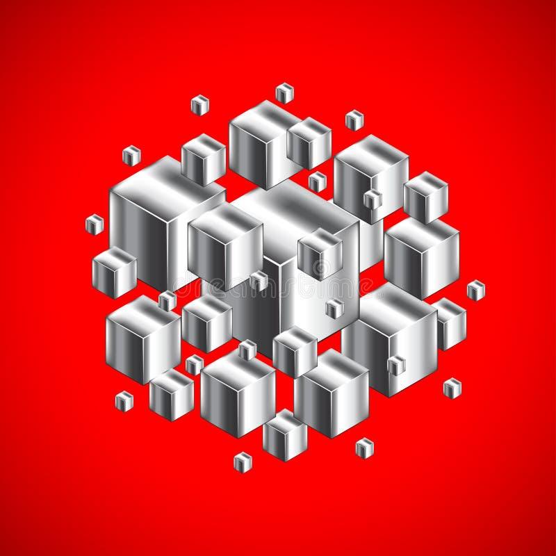 Abstract cijfer van 3d metaalkubussen op rode achtergrond vector illustratie