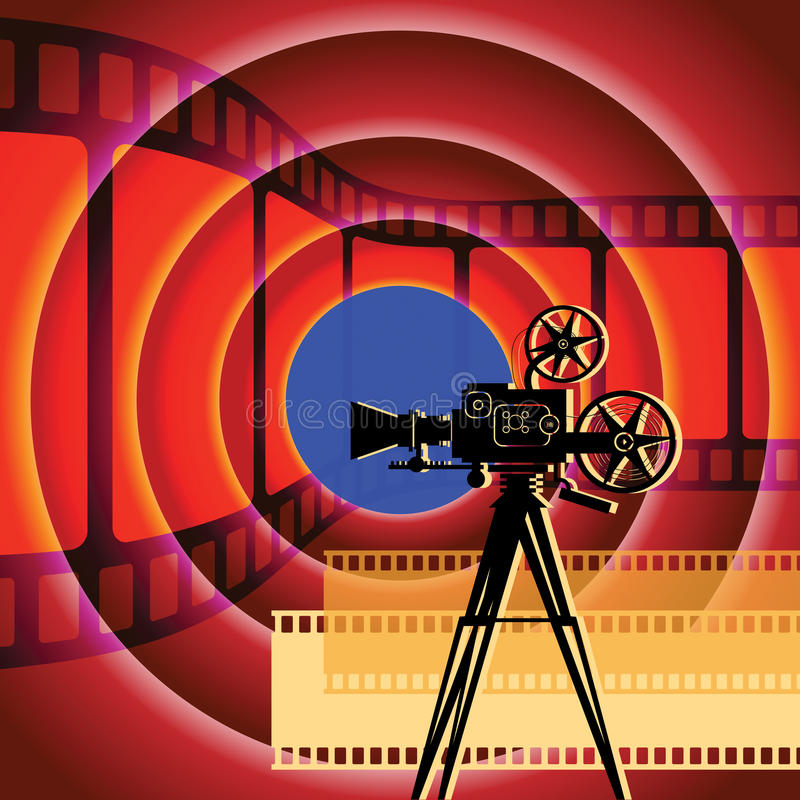 Abstract cinema background. With camera and film strip royalty free illustration