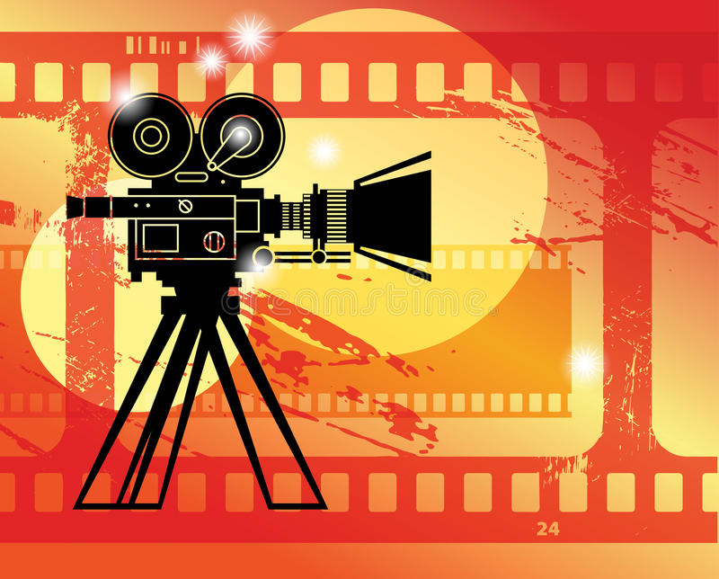 Abstract cinema background. With camera and film strip stock illustration