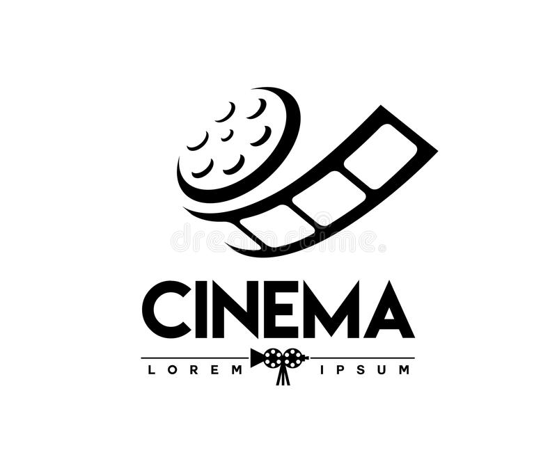 Abstract cinema logo vector template isolated on white. Background vector illustration