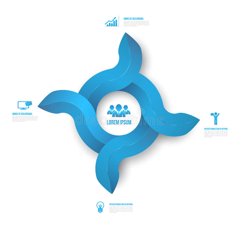 Abstract circle arrows 3D digital illustration Infographic clean style. royalty free illustration