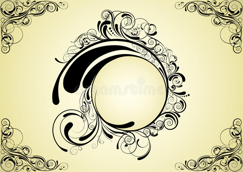 Abstract circle design. Floral retro circle swirl design, black colored.Each of elements can easily regroup vector illustration
