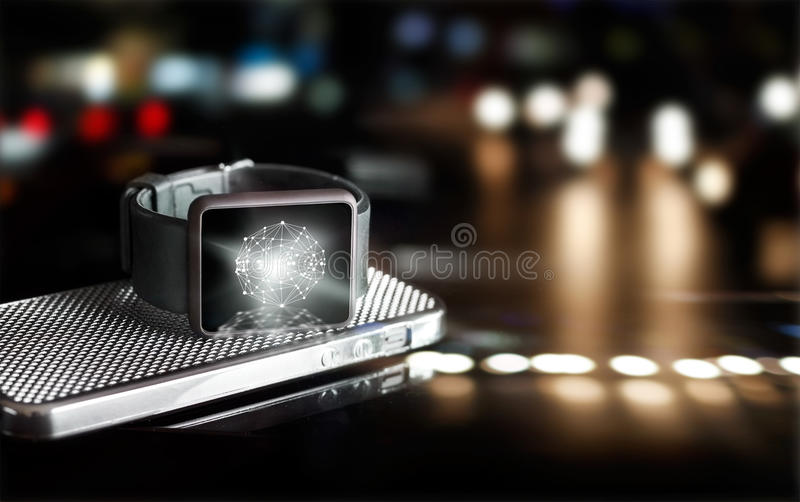 Abstract circle global customer network connection on smart watch. Omni Channel or Multi channel royalty free stock photography