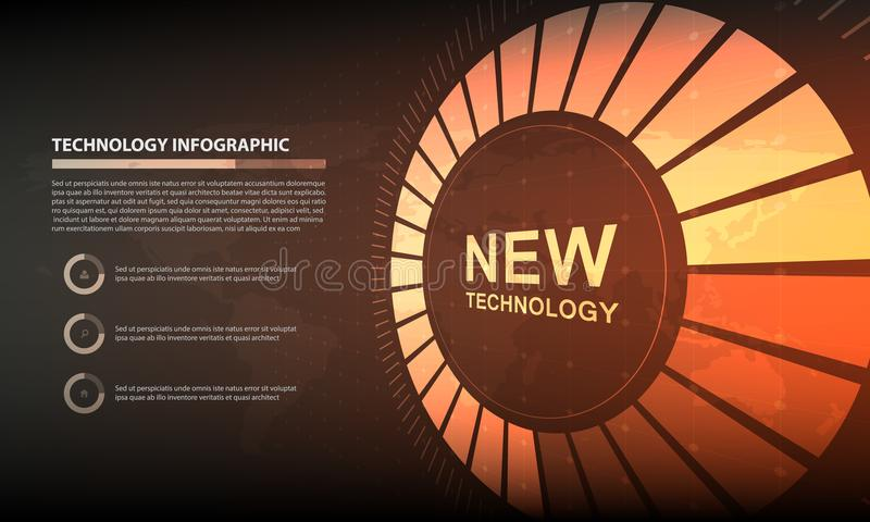 Abstract Circle infographic digital technology background, futuristic structure elements concept background design royalty free illustration