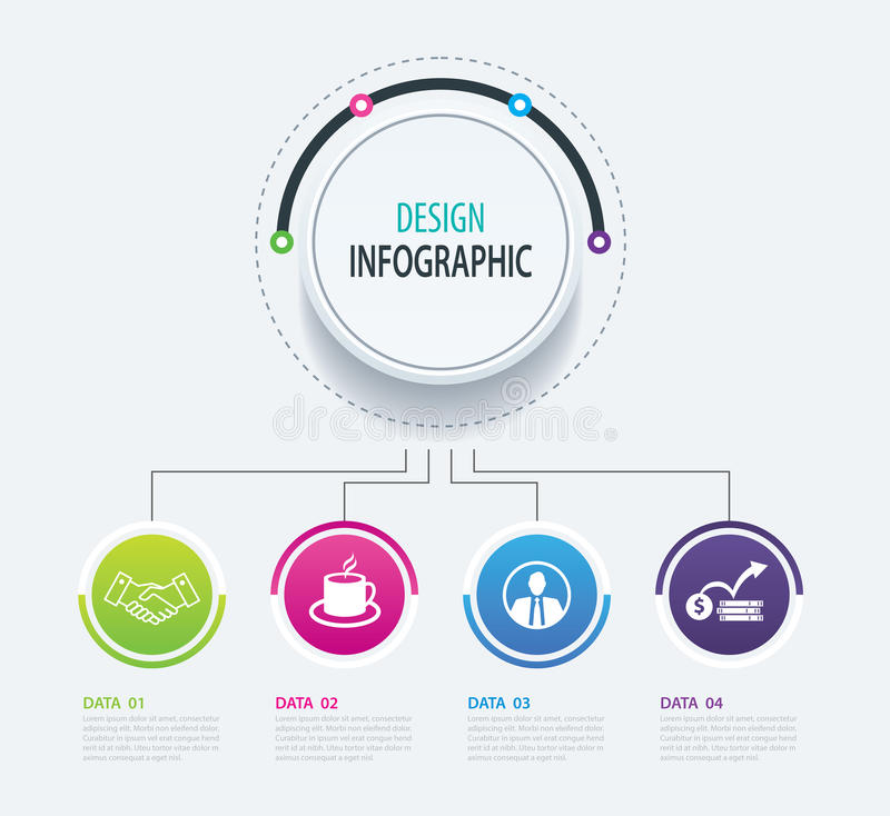 4 abstract circle infographic number business options template. royalty free illustration