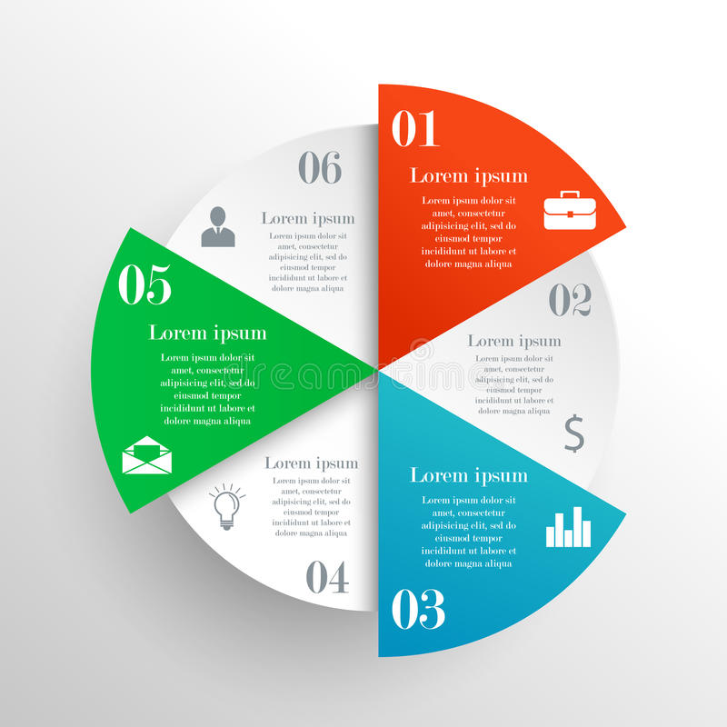 Abstract circle infographic. With 6 options. Clean style. Can be used for workflow layout, parts, steps or processes, banner, chart, web design royalty free illustration