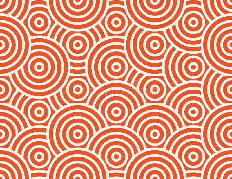 Abstract circle, line seamless pattern. Bright colorful business background, orange white color. Linear round shapes royalty free illustration