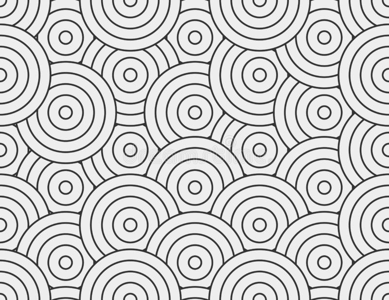 Abstract circle, line seamless pattern. Neutral monochrome business background, black grey color. Linear round shapes vector illustration