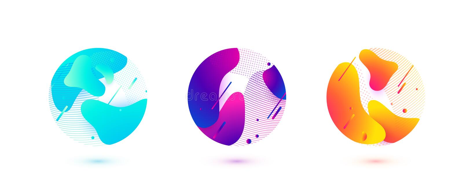 Abstract circle liquid vector shapes. Fluid graphic design. Isolated gradient waves with geometric lines, dots in round. Abstract circle liquid vector shapes stock illustration