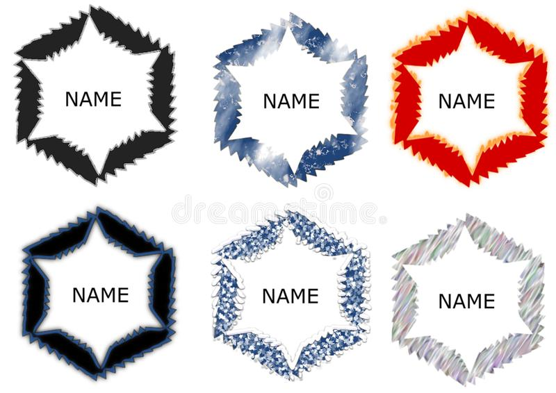 Abstract circle logo template with different patterns stock illustration