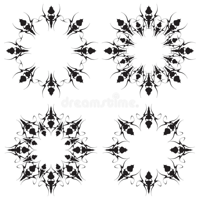 Abstract Circle Ornament. Black and white vector illustration