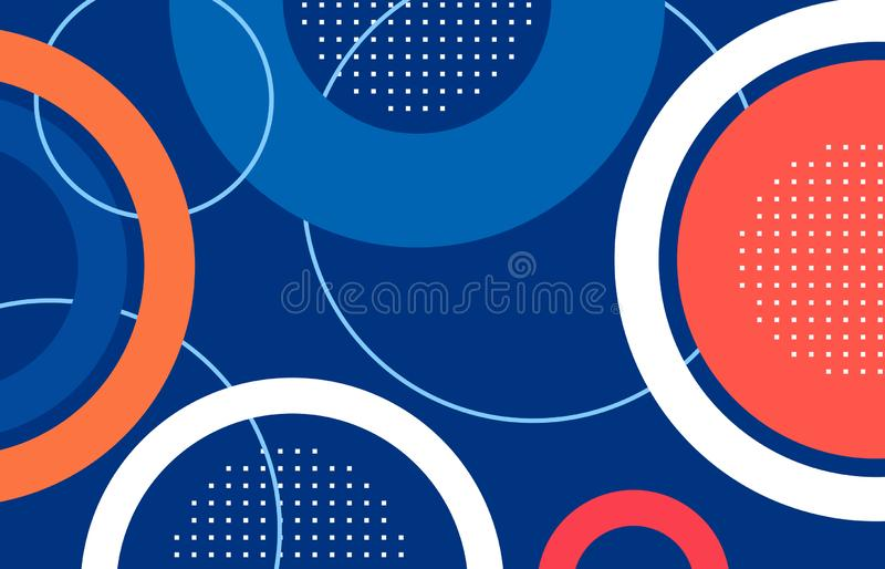 Abstract circle shape blue,red,orange background. stock images