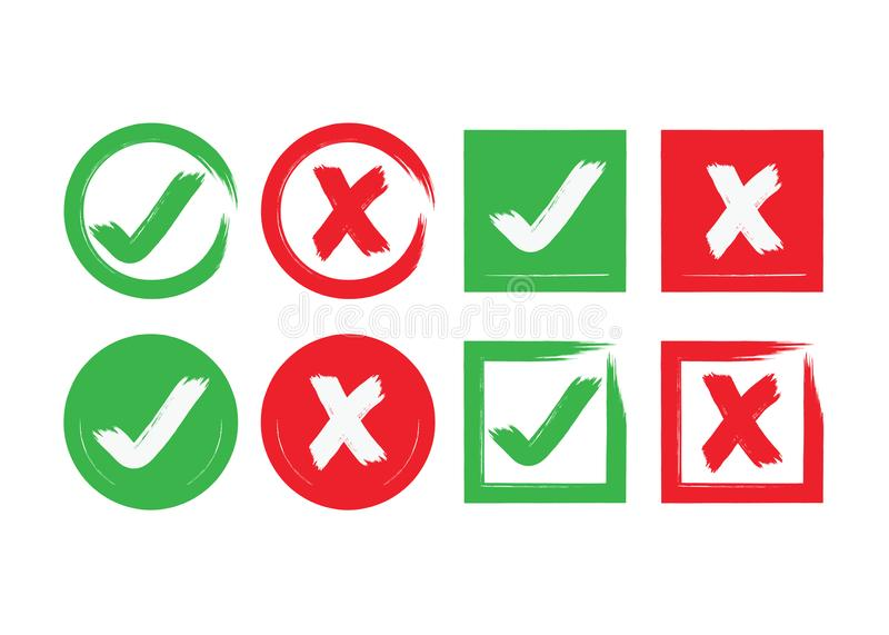 Abstract circle and square brushed check mark and crossed X mark boxes icons set. Red and green ink abstract circle and square brushed check mark and crossed X royalty free illustration