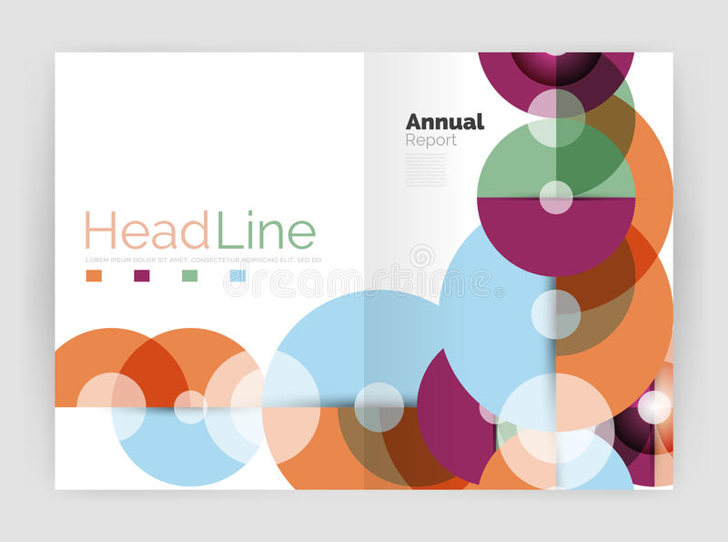 Abstract circles, annual report covers. Modern business brochure templates vector illustration