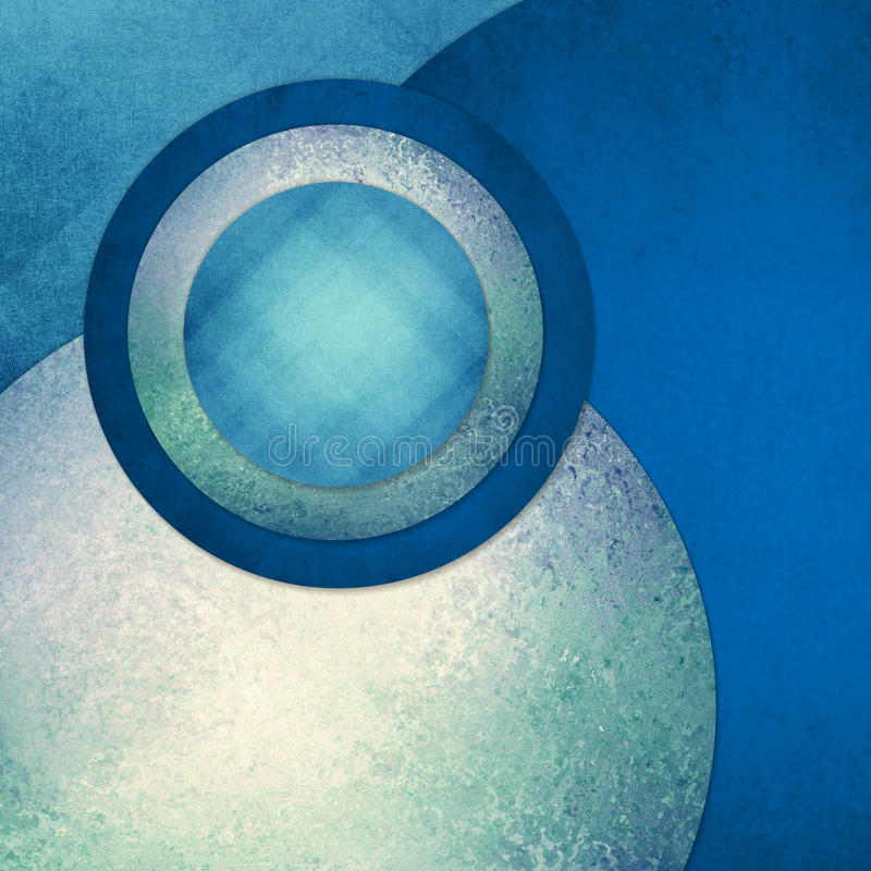 Abstract circles in blue and green layers with patterns and textures royalty free stock photo