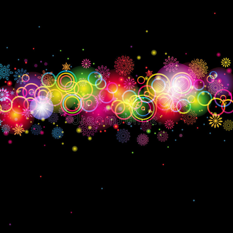 Abstract Circles and Snowflakes stock image