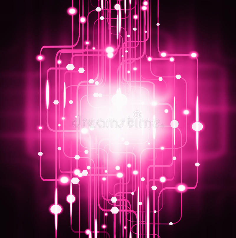 Abstract circuit board lighting effect stock illustration