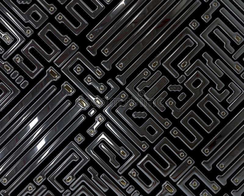 Abstract circuit inside microchip royalty free illustration