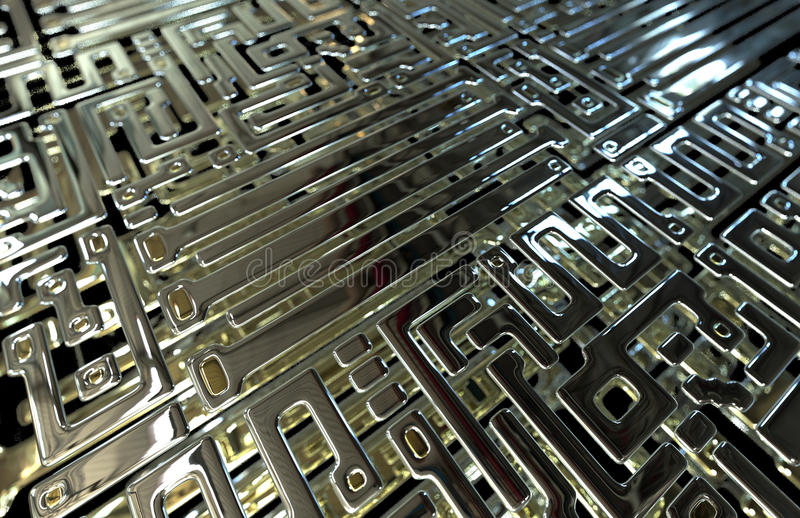 Abstract circuit inside microchip stock illustration
