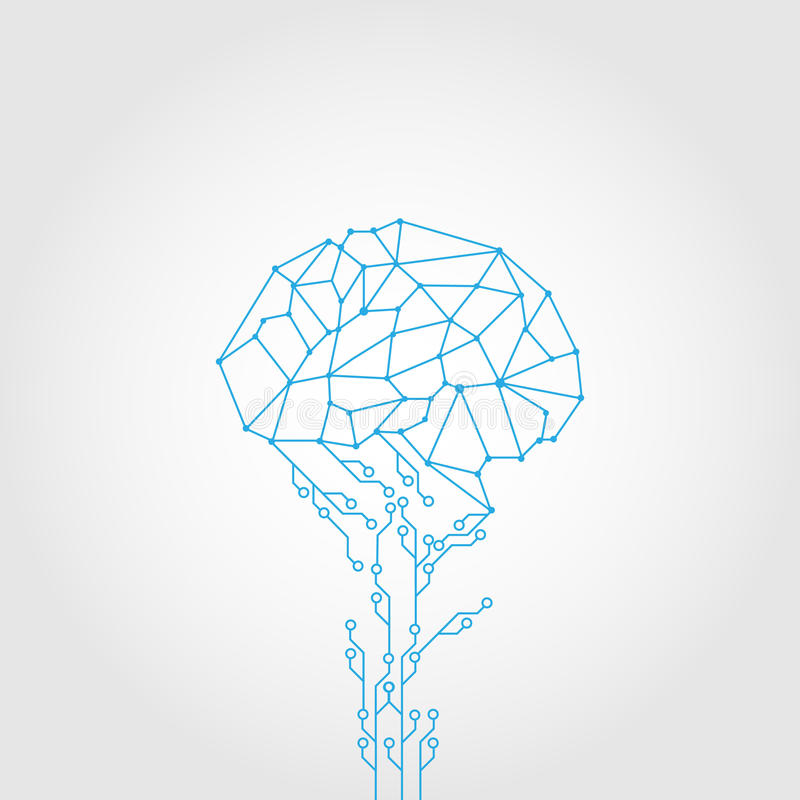 Abstract Circuit and style brain technology royalty free illustration