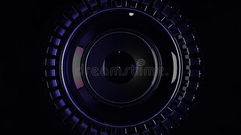 Abstract circular background loop of steel and light for motion graphic. Animation rotation of radial steel. Abstract. Background of metal. Metallic chain armor stock image
