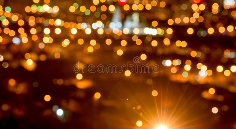 Abstract circular bokeh background, city lights in the twilight. With streetlight, panorama stock image