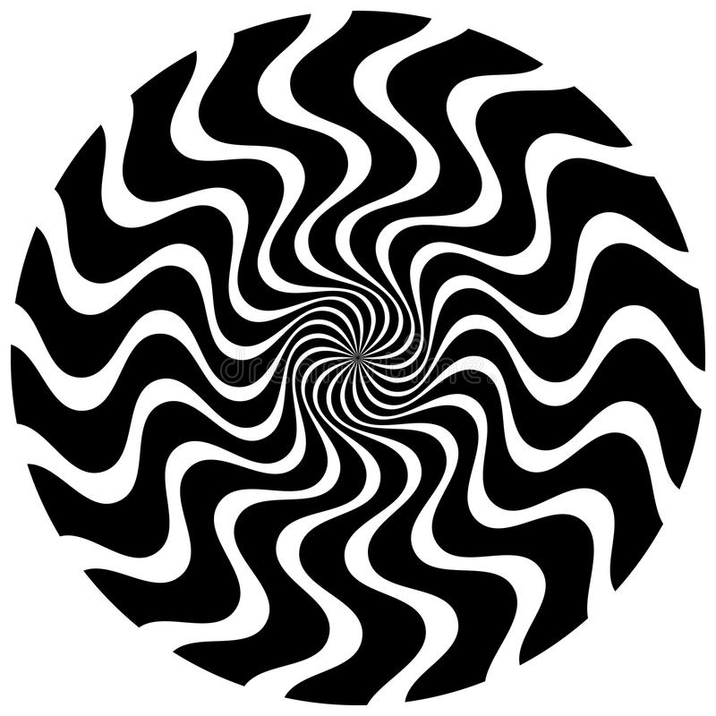 Abstract circular element. Rotating radial lines with wavy effec. T. Geometric monochrome circle. Abstract burst element.- Royalty free vector illustration stock illustration