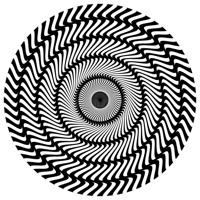 Abstract circular element. Rotating radial lines with wavy effec. T. Geometric monochrome circle. Abstract burst element.- Royalty free vector illustration royalty free illustration