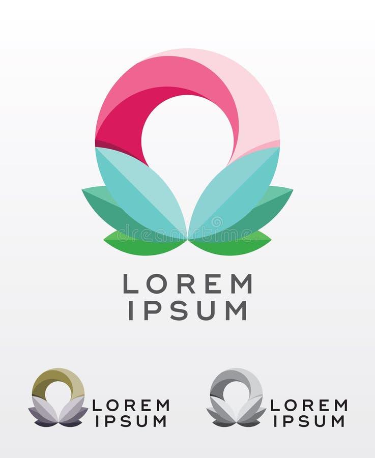 Abstract circular foliage emblem design. Abstract vector emblem, icon design with circlular foliage elements royalty free illustration