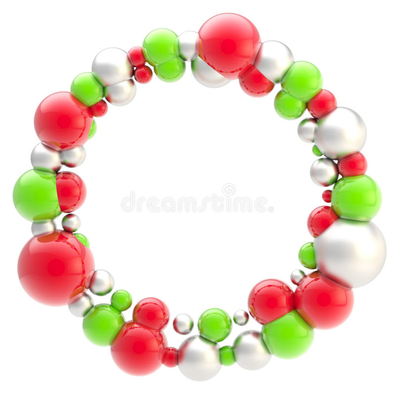 Abstract circular frame made of spheres isolated stock illustration
