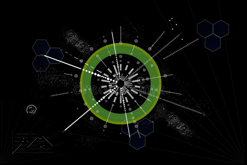 Abstract circular graph on a black background. The abstract circular graph on a black background royalty free illustration