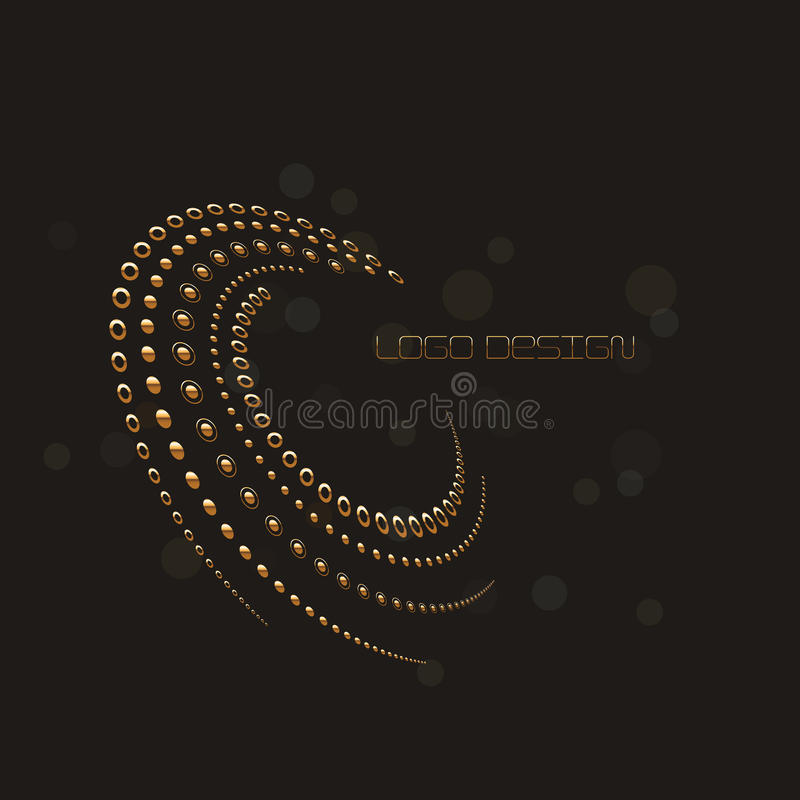 Abstract circular halftone dots form in gold, black color background. Logo design. Vector illustration. vector illustration