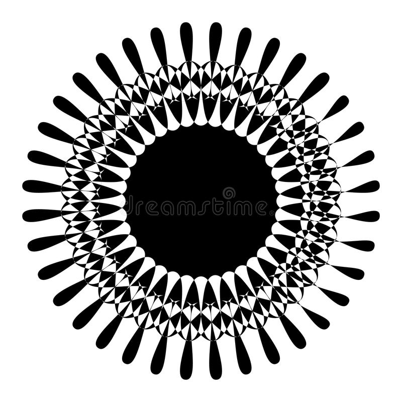 Abstract circular motif, geometric mandala in black and white. Royalty free vector illustration royalty free illustration