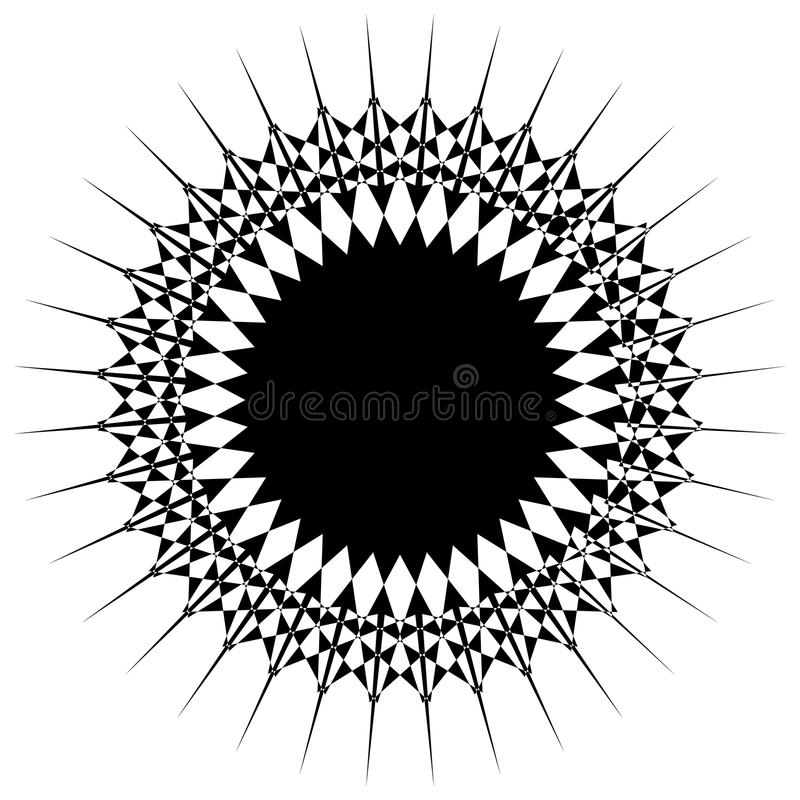 Abstract circular motif, geometric mandala in black and white. Royalty free vector illustration stock illustration