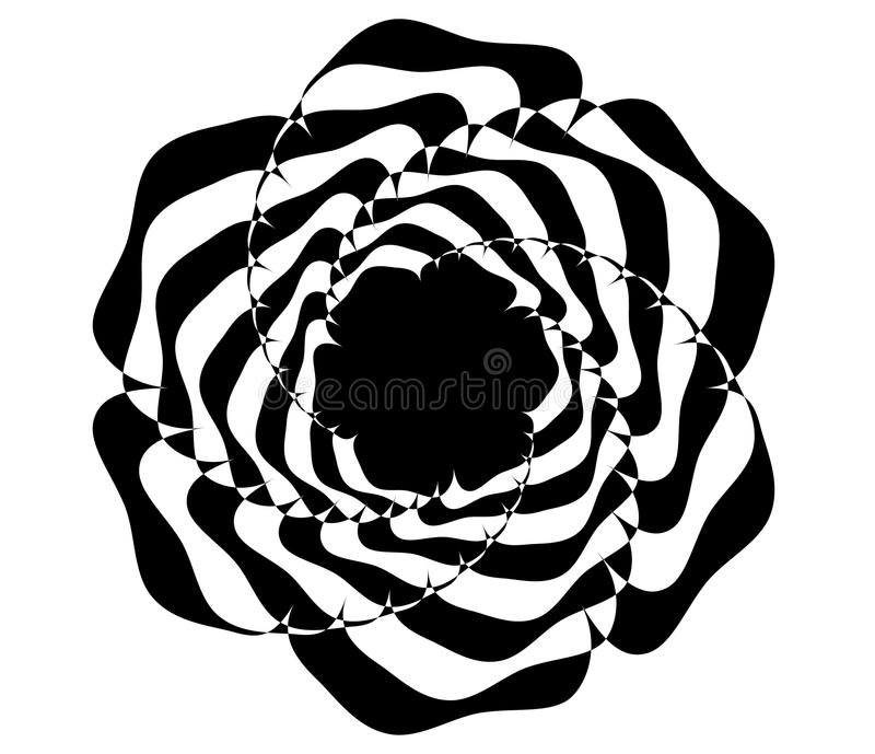 Abstract circular motif, geometric mandala in black and white. Royalty free vector illustration vector illustration