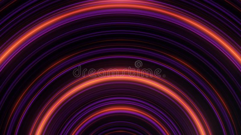 Abstract circular neon lines. Animation. Pulsing neon semicircular lines on black background. Abstract background of. Circular light lines in wave pulsations vector illustration