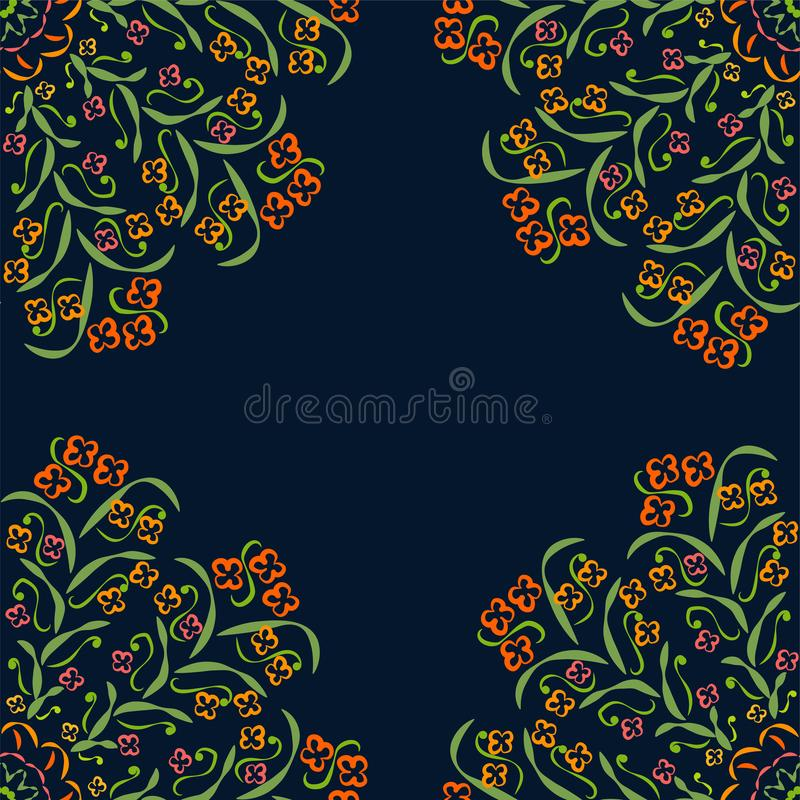 Abstract Circular Patterns Green, Red, Purple, Yellow On Dark Background royalty free illustration