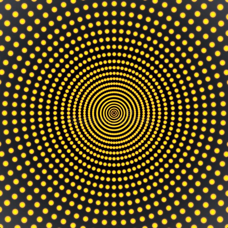 Abstract Spinning Yellow Dots in Dark Background stock illustration