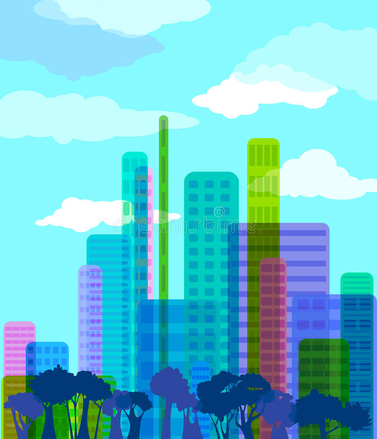 Abstract city. Colorful abstract city, illustration