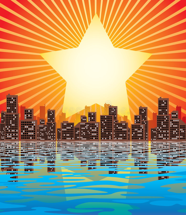 Abstract city. Vector image of abstract city and rising sun