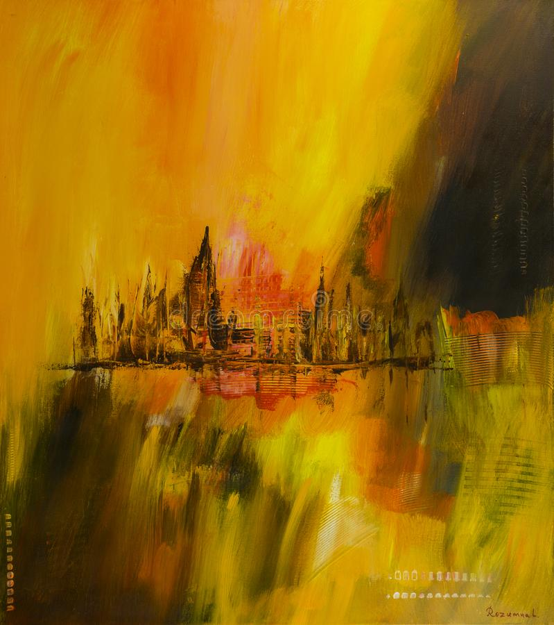 Abstract city, art background. stock photo
