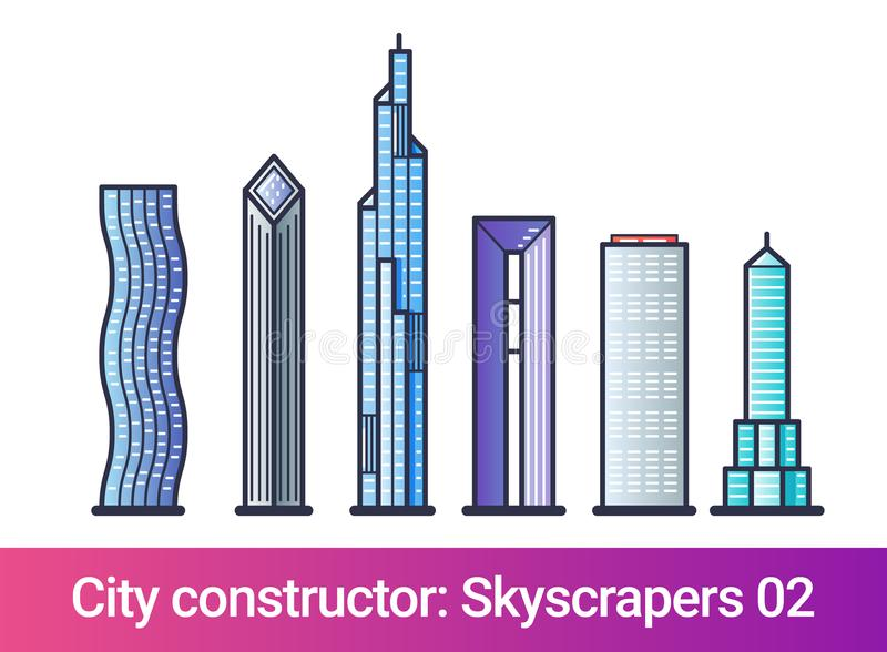 City constructor flat line. Skyscrapers. Abstract city constructor in flat line style. Set with icons of skyscrapers. Compatible with my other city constructor stock illustration