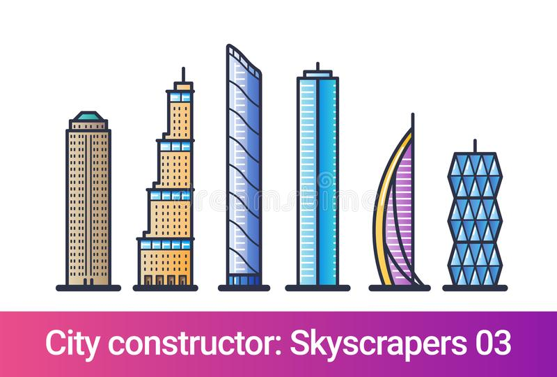 City constructor flat line. Skyscrapers. Abstract city constructor in flat line style. Set with icons of skyscrapers. Compatible with my other city constructor royalty free illustration