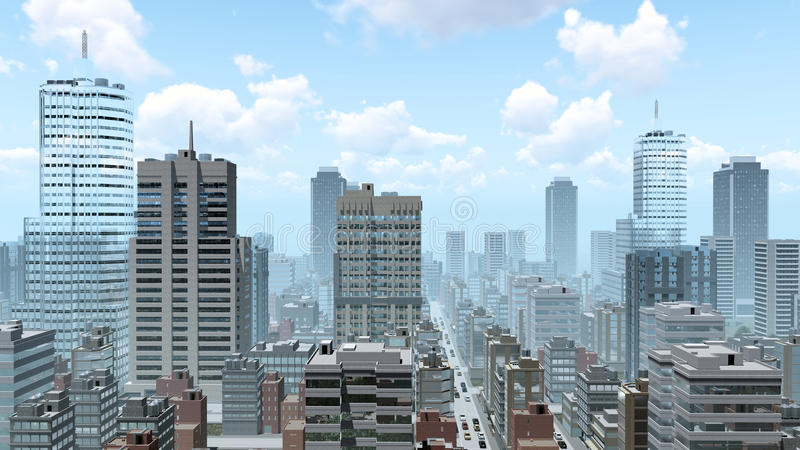 Abstract city downtown at daytime. Abstract big city downtown with modern high rise buildings skyscrapers and busy streets at daytime. 3D illustration from my royalty free illustration