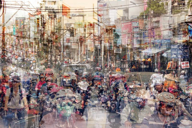 Abstract city life and road traffic concept - street scene double exposure. Abstract city life and motorbike road traffic concept - street scene double exposure royalty free stock photography