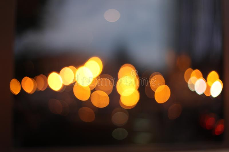 Abstract city light blur blinking background. Soft focus.  royalty free stock images