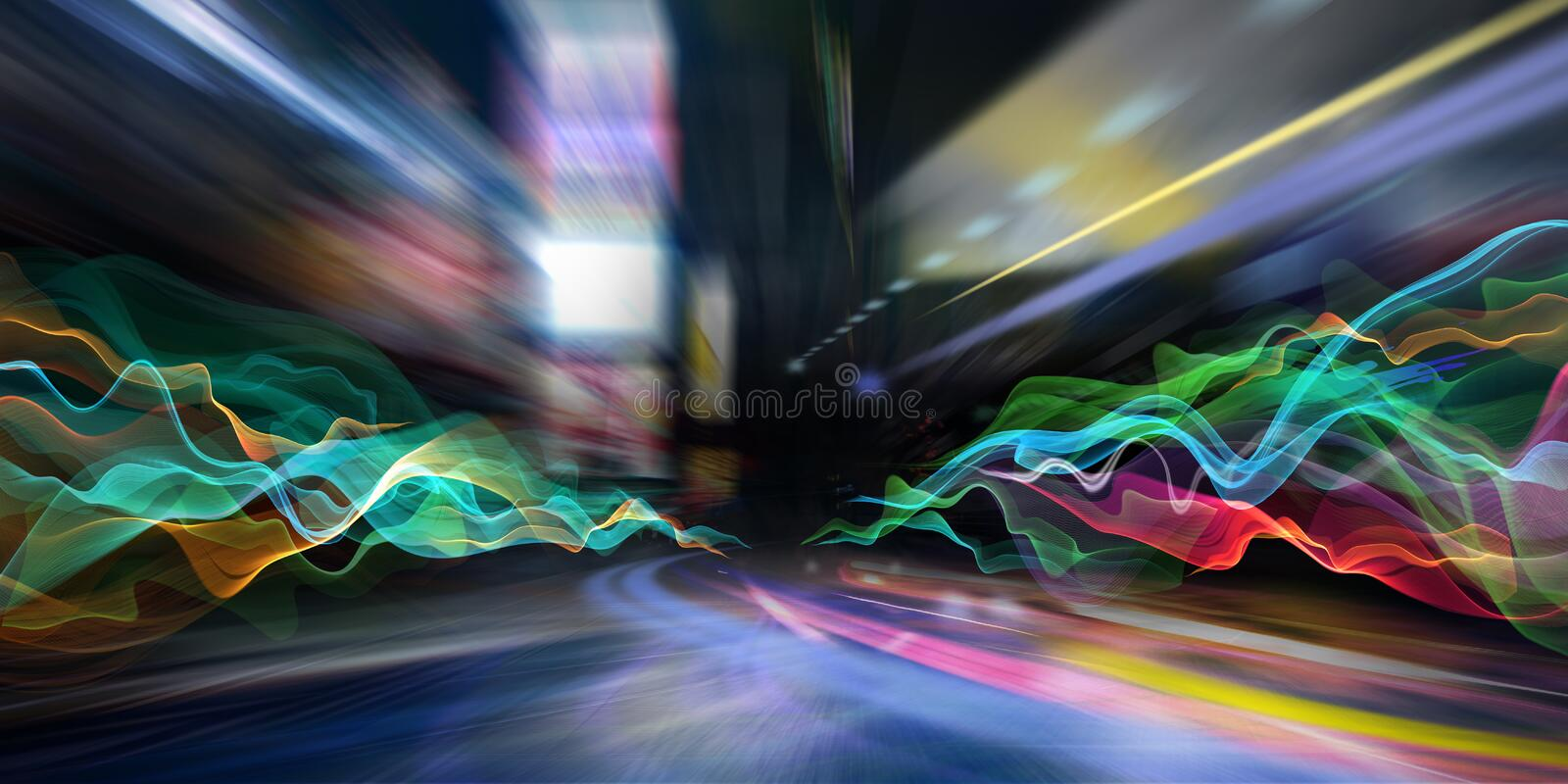 Abstract city lights and colored waves stock photography