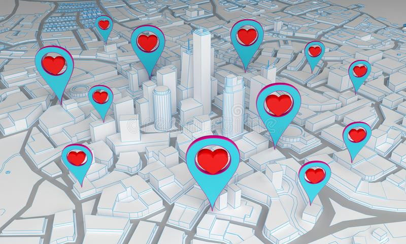 Abstract city with pin symbols heart. 3d rendering royalty free illustration